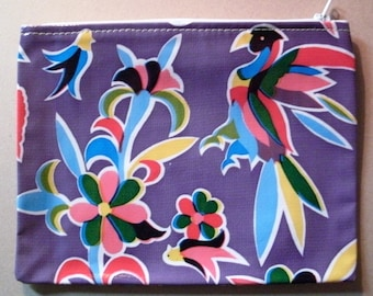 "Zipper Bag Wallet Makeup Bag Purple/Multi Floral with Animals Mexican Oilcloth 7 1/2"" x 6"" Retro"