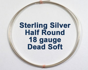 Sterling Silver Wire - Half Round - 18ga HR DS - Choose Your Length