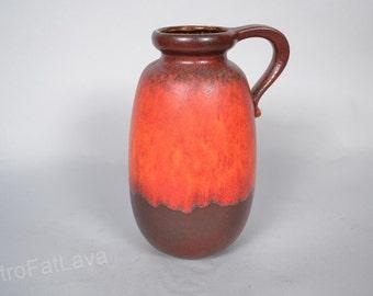 West German pottery vase by Scheurich 484-27  Red/  orange, brown