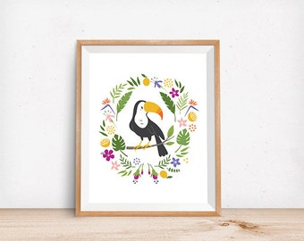Toucan Print, Tropical Print, Digital Poster, Children's Wall Art, Modern Decor, Illustration, Bird, Girl's Decor, Nursery