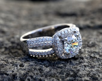 Diamond Engagement Ring -14K white gold -  chunky - Halo - Pave - Multi row - Brides -Beautiful Petra bph016