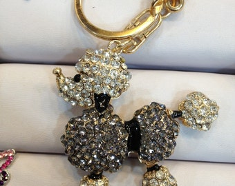 Poodle Dog Keychain Purse Charm With Rhinestones Crystals Ship From NY