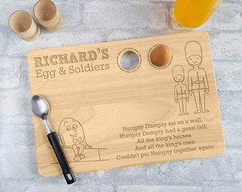 Egg and soldiers Personalised Egg Board, Egg and soldiers, Breakfast Board, Dippy egg
