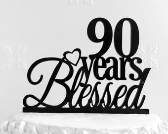 80 Years Blessed Cake Topper Personalized 80th Birthday Cake