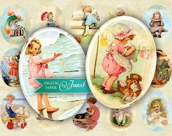 Children - Vintage Illustration - oval image - 30 x 40 mm or 18 x 25 mm - digital collage sheet - Printable Download