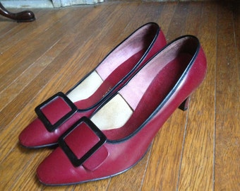 Red & Black Pumps Size 8