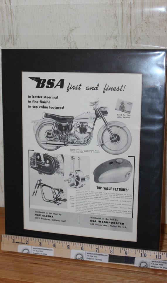 1958 Vintage BSA Golden Flash 11'' x 14'' Matted Motorcycle Print Ad Art #5806amot05m