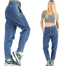 Tapered Well Worn Jeans 80s Denim Jeans Blue High Rise Tapered Denim Loose Pants Wide Leg 1980s Trousers Medium W 29