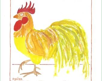 Rooster, Rooster Art, Golden Rooster, Golden Rooster Art, Chicken, Chicken Art, Golden Boy Rooster Print