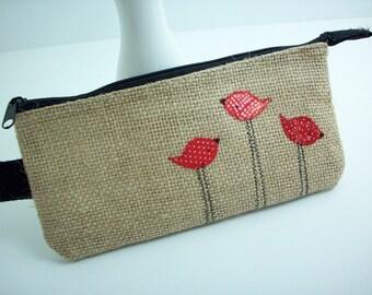 Zipper pouch with red birds, burlap makeup pouch, burlap pancil pouch