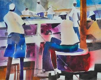 Pier Fishing Watercolor Print, African American Art, Large African Art, Home Decor Art, Wall Art, Living Room Wall Art, Black Art, Fine Art