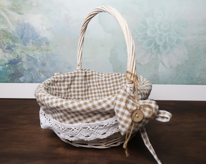 Flower girl basket checkered fabric cotton lace ivory white brown rustic cottage southwestern wedding vintage hand sewn heart