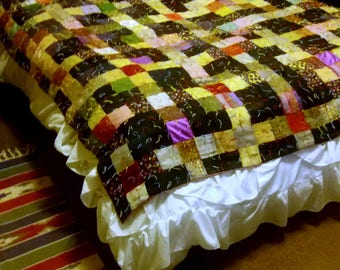 """Handmade Circa 1918 Bed throw/Quilt (mostly Silk) Full size  68""""X 70"""""""