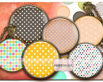 Polka Dots Cabochon images Digital Collage Sheet 1.5 inch 18 mm 14 mm 1 inch round Printable images Instant download Bottle Cap image c202