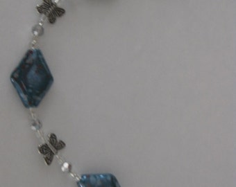 Blue Butterfly and Crystal Necklace