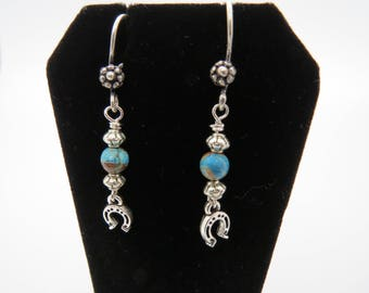 Silver and Turquoise Horseshoe Western Cowgirl Earrings