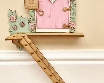 Pink Fairy Door, The Tooth Fairy Lives Here, With Ladder Gift