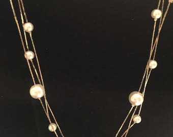 Multi-strand imitation pearl necklace and earring set