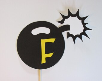 F-Bomb on a stick, Wedding photo props, photo booth props