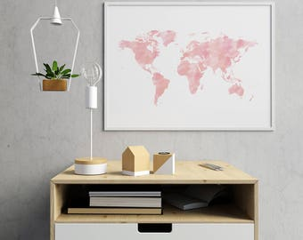 Pink World Map, Nursery Decor, Baby Girl Nursery, World Map Wall Art, Pink Wall Art, World Map Poster