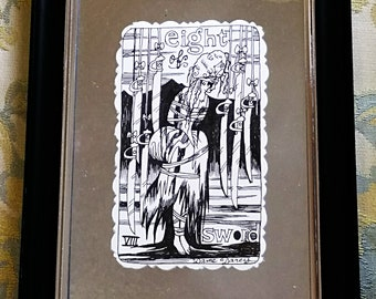 Eight of Swords, Black and White, Pen and Ink, framed illustration, Queen, Alice Tarot deck, Original art,Gothic Lolita, Dame Darcy