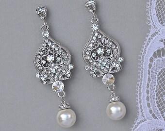 Chandelier Bridal Earrings, Crystal Drop Earrings, Crystal Chandelier Earrings, Pearl Drop Earrings, Bridal Jewelry, LUCY3