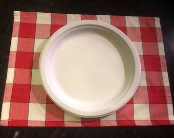 Custom Picnic Place mats | Table Linens | Home Accessories | Red White Check Plaid