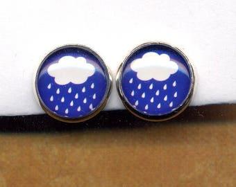 Blue White Rain Cloud Clip On Earrings, Clip on Earrings Earrings, Clips Earrings, White Cloud Silver Rain Earrings, Clips Earrings