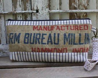 Vintage Feed Sack Clutch | Vintage Burlap | Wristlet | Purse | Upcycled | Repurposed | Feedsack Pouch | Grain Sack | Handbag | Farm Bureau
