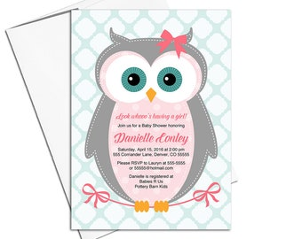 owl baby shower invitation girl, cute baby shower invites woodland, pink, gray, mint - PRINTED - WLP00784