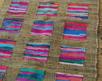 Multi Colour Cotton and Jute Rag Rug 90 x 150cm Hand Made Recycled Boho Hippie Scandi Square Pattern Loom Woven Traditional