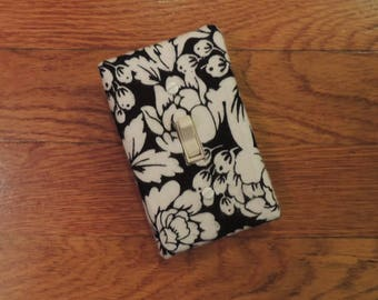 Black & White Floral Light Switch Plate or Outlet Cover