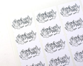 Shop Exclusive - Thank you so much! with flowers and vines - modern hand lettering - thank you stickers