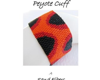 Peyote Pattern - The Fire Within Cuff / Bracelet - A Sand Fibers For Personal Use Only PDF Pattern - 3 for 2 Savings Program
