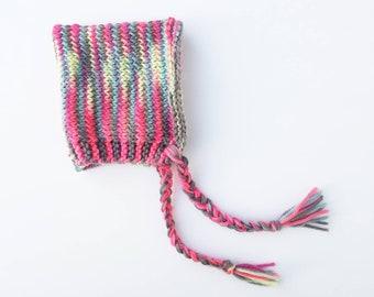 Hand Knit Pink Newborn Baby Girl Pixie Bonnet Hat - neon rainbow pink gray green blue orange