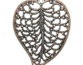 ML385p Antiqued Copper Textured Leaf 48mm Open Single-Sided Metal Alloy Pendant Drop