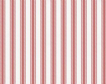 Red Ticking Stripe Organic Fabric - By The Yard - Boy / Modern / Fabric