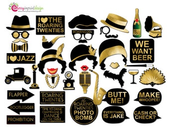 42 Funny Roaring Twenties Black Gold Foil Photo Booth Props - INSTANT DOWNLOAD - DIY Printable (High-Res Jpeg)