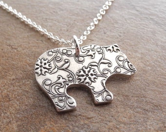 Bear Necklace, Flowering Vine Bear Necklace, Grizzly Bear Necklace, Fine Silver, Sterling Silver Chain, Made To Order