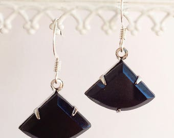 Black Art Deco Earrings - Jet Black Art Nouveau Earrings - Black Drop Earrings - INTRIGUE Black