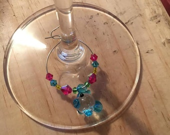 Blue/Green Fish Wine Glass Charm