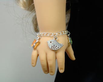 "Bird Charm Bracelet for 18"" Play Dolls such as American Girl® Grace"
