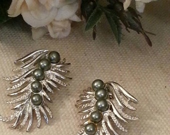 Feather Fantasy Clip On Earrings, Signed SARAH COVENTRY Collection, Silver High Quality Costume