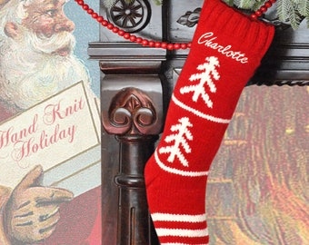 Hand Knit Personalized Stocking Red Tree Hand Knit Wool Christmas Sock