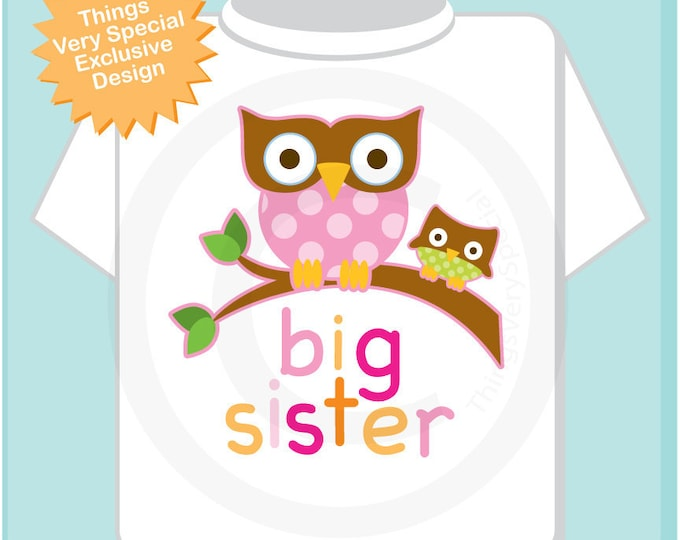 Big Sister Shirt, Big Sister Owl Tee Shirt or Big Sister Onesie Pregnancy Announcement, Owl Big Sister (02102012a)