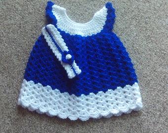 Baby, Mädchen, Kleid, funkelnd, Stirnband, blau, weiß, Geschenk, Foto's, Sport, Neugeborenen-3 Monate, Dusche, Babys, Mädchen, Neugeborene, gehäkelt
