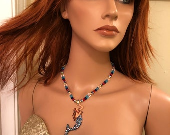 Fiery red haired magical mermaid sky necklace blue , pink, red , multi color 16 inches made with Swarovski crystals