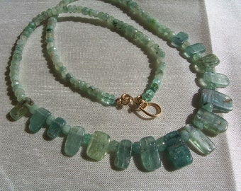 """Green kyanite set organic emeralds necklace and earrings 1.5"""" 14k gold filled gemstone handmade MLMR item 616 and617"""