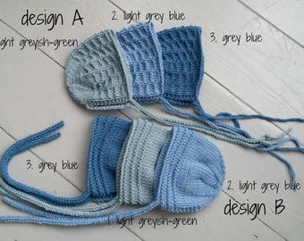 RTS Hand knit baby bonnet in blue, grey blue or greyish green/ cute hat for newborn/merino textured hat/ photo prop for twins or triplets