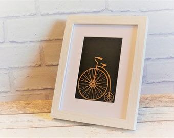 Penny Farthing Picture Frame with Black Background